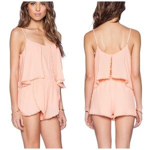 Lovers + Friends June embroidered trim pink romper